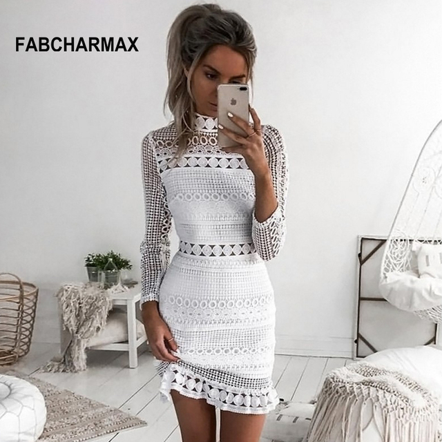 women hollow out patterns white lace crochet dress summer 2018 vintage high  neck long sleeve dress chic ladies dress vestidos 37c06c7ae0