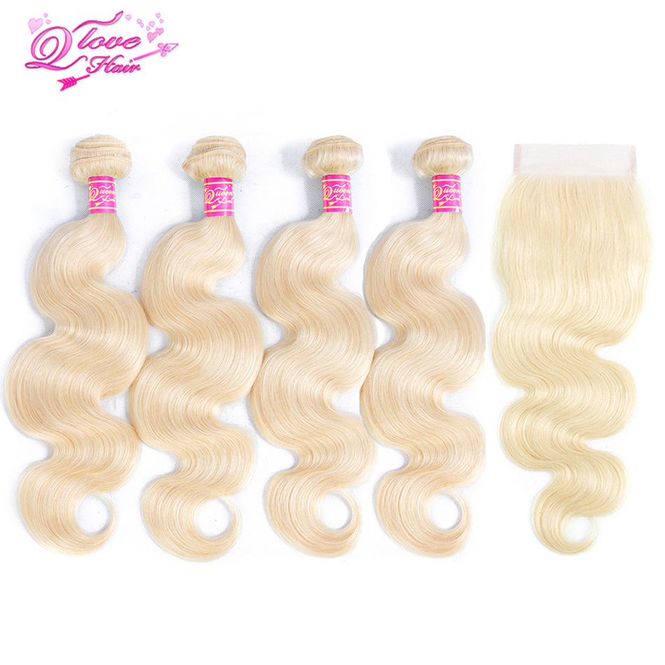 Queen Love Hair Brazilian 613 Blonde Hair 4 Bundles With Lace Closure Body Wave Human Hair Remy Extensions