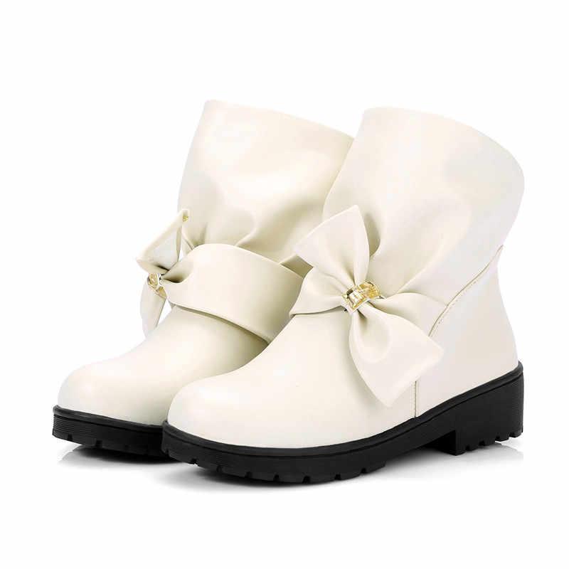 MoonMeek sıcak satış 2020 sıcak büyük boy ayakkabı rahat yuvarlak ayak yarım çizmeler kadın marka botları bayan kış kar botları düşük topuk