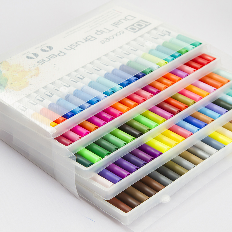 100Pcs Colors Dual Tip Brush Pens with Fineliners Colouring Watercolor Sketch Art Markers Drawing Set Supplies