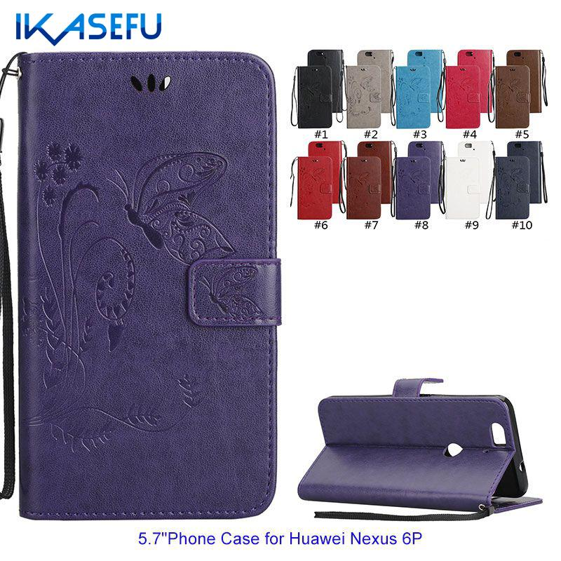 IKASEFU Embossed Butterflies PU Leather Stand Phone Case for HUAWEI Nexus 6P Wallet Flip Cover Magnet Closure Card Holder