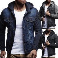 ZOGAA Men's New 2019 Fashion Cowboy Jackets Coat Cotton Slim Fit Single Breasted Hooded Jackets and Coats Plus Size Man Clothing