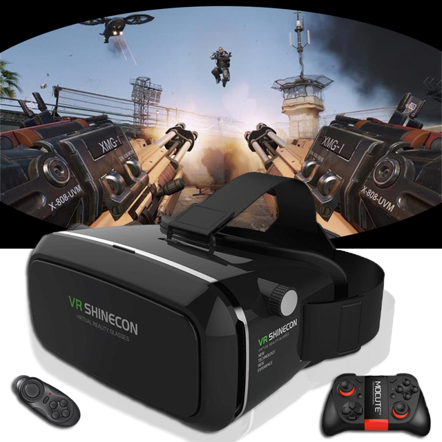 Hot Sale! vr shinecon Google 3D VR Cardboard  gafas realidad virtual  For 4-6.2 inch Smartphone+Multi-Function Bluetooth Gampad