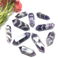 10pcs/lot Natural Dream Amethyst Crystal Quartz Point Double Pointed Mineral Healing Home Decoration