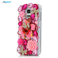 Handmade Bling Crystal Luxury Full Diamond Floral Bow Rhinestone Clear Cover Hard PC Phone Case For