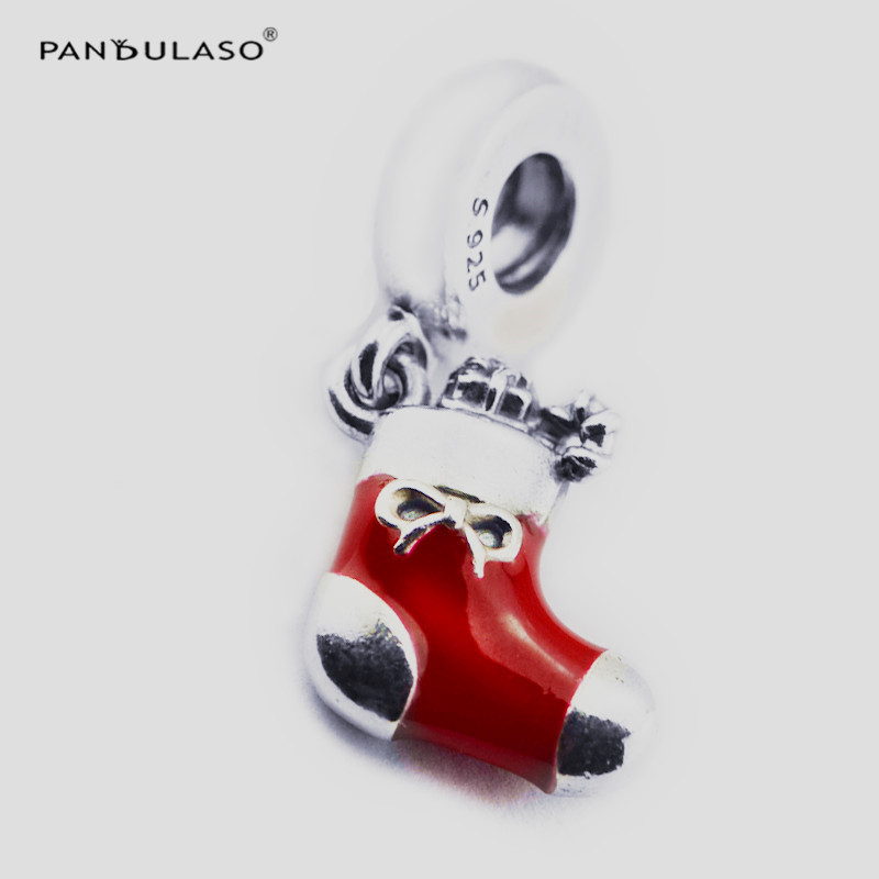 Pandulaso Christmas Stocking Beads Fit Charms Bracelets Winter Red Pendants DIY Fashion Jewelry Silver Beads for Jewelry Making
