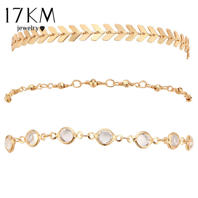 17KM Crystal Sequins Anklet Set For Women Beach Foot jewelry Vintage Statement Anklets Boho Style Party Summer Jewelry 3Pcs/lot 3