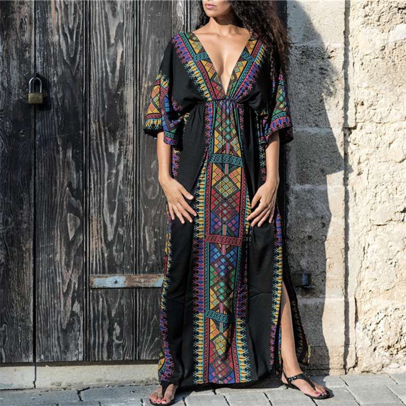 Plus Size Kaftan Beach Tunic Women Summer Beachwear Swimsuit Cover Up Ladies Bohemian Beach Dress Robe de plage sarongs pareo
