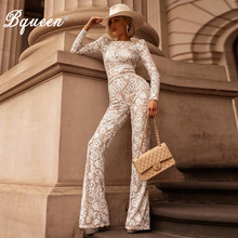 Bqueen 2019 Fashion Lace Bandage Jumpsuits Sexy O Neck Party Hollow Out Women Full Length White Bandage Belt Jumpsuits(China)