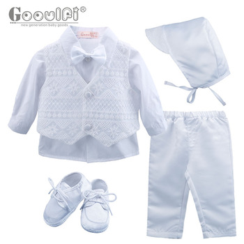 Gooulfi Baby Boy Clothing Fashion 0-3 Months Formal Newborn Boy 5 Pieces Sets Broadcloth Cotton White Color Infant Clothes