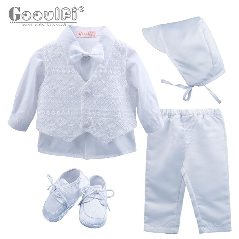 Gooulfi Del Bambino Formale vestiti Del Ragazzo in Bianco Bowtie New Born Baby Boy Set Neonato Vestiti Del Ragazzo Set 5 pcs Vestiti per Bambino autunno
