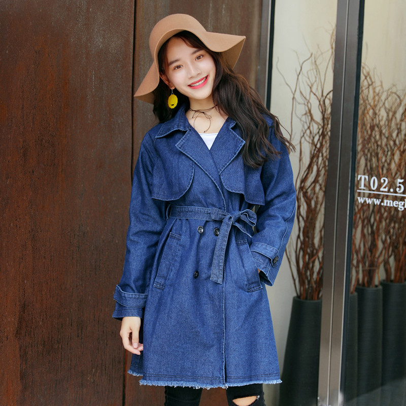 VANOVICH 2019 Spring and Autumn New Denim   Trench   Coat for Women Korean Style Wild Casual Ladies Windbreaker Solid Color Coats