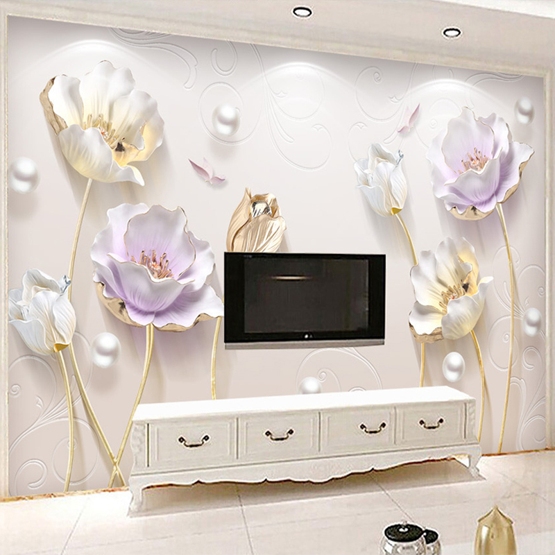 3D Stereo Relief Jewelry Elegant Tulip Backdrop Wallpaper Modern Simple Living Room Bedroom Luxury 3D Wall Mural Papel De Parede