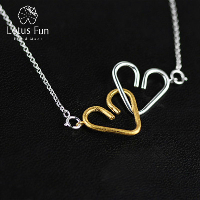 Lotus Fun Real 925 Sterling Silver Necklaces Handmade Fine Jewelry Heart to Heart Necklace with Pendant Acessories for Women