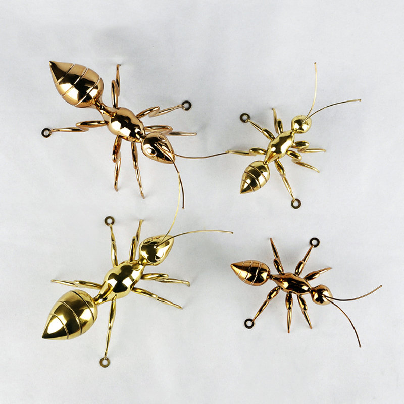 European model room soft decoration wall hanging art crafts metal ant copper rose gold creative ornaments
