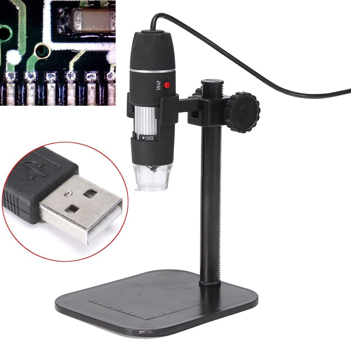 5MP Digital Camera Microscope Magnifier 1X-500X 5V DC Video Black Electronic USB Microscopes With Lift Stand Measuring Tool