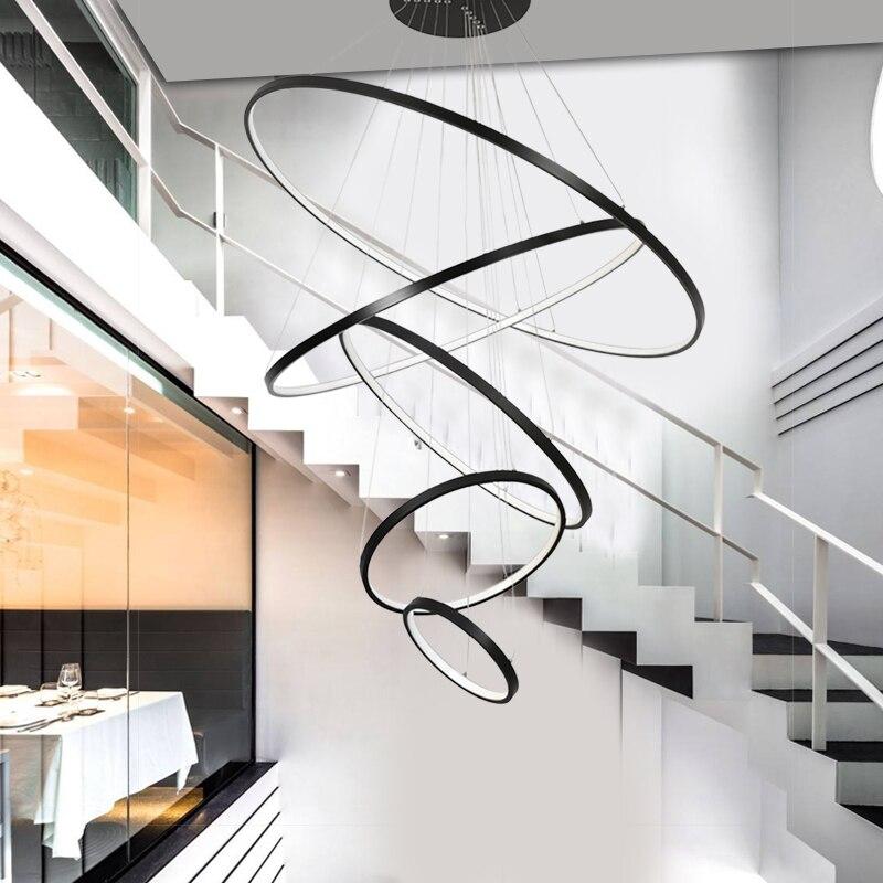 Białe/czarne pierścienie nowoczesny wisiorek led światła do jadalni sypialnia home deco światła wiszące zawieszenie oprawy oświetleniowe