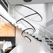 Luces colgantes led modernas para comedor, dormitorio, decoración del hogar, luminaria de suspensión, accesorios de iluminación, anillos blancos/negros