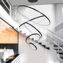 White/Black Rings modern led pendant lights for diningroom bedroom home deco hanging lights suspension luminaire light fixtures