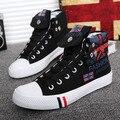 2016 Del Otoño Del Resorte Zapatos de Lona Para Los Hombres con cordones Transpirable Hombres de La Moda de Graffiti Altos Tops de Los Hombres de Lona Casuales zapatos