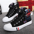 2016 Spring Autumn Canvas Shoes For Men Lace-up Breathable Men Fashion Graffiti High Tops Casual Canvas Men's Shoes