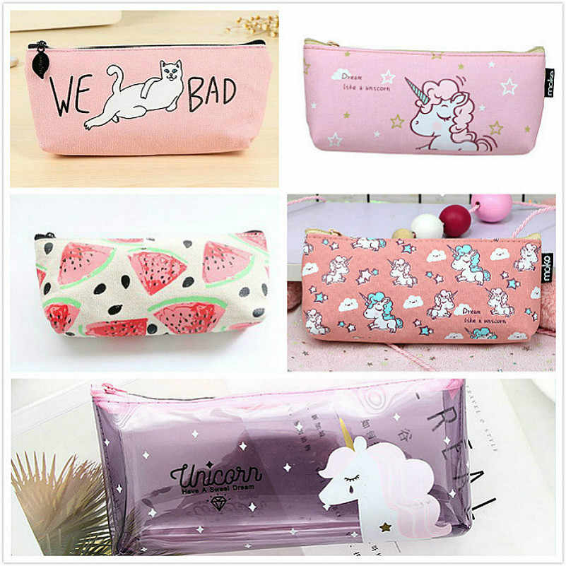 LoLede's Store 1Pcs/Sell Pink Animal Simple PencilsBag Kawaii Girl Pencil Case Durable Large Capacity School Supplies Stationery