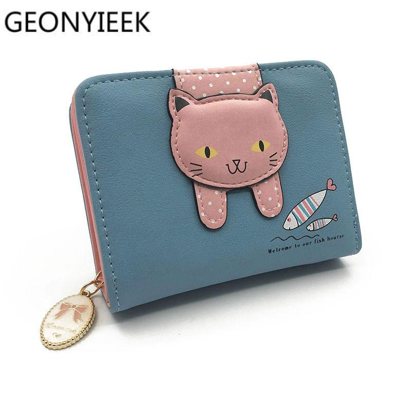 Women Cute Cat Wallet Small Zipper Girl Wallet Brand Designed Pu Leather Women Coin Purse Female Card Holder Wallet