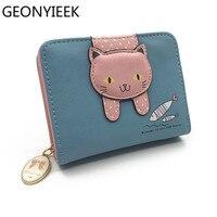 Women cute cat wallet small zipper girl wallet brand designed pu leather women coin purse female card holder wallet Women Wallets