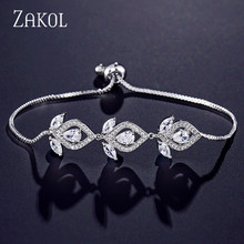 ZAKOL Fashion Cubic Zirconia Chandelier Adjustable Bracelets For Women Leaf Bridal Wedding Anniversary Jewelry FSBP2122