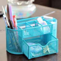 SOSW Multifunctional 9 Components Metal Table Statinery Storage Box Desktop Organizer With Drawers Sky Blue