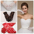 Fast Shipping Lace Wedding Gloves Red White Black Wrist Length with Fingers Bridal Glove Free Size In Stock