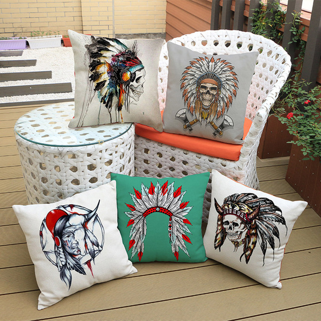 Indian feather Hat Skull Floor Cushion Cover Funky Style Exotic ...