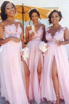 Sleeveless A-Line Spaghetti Straps Satin vestido de formatura longo Pink Prom Dress with Split Prom Long Elegant Dresses 2020