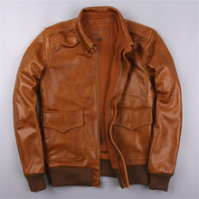 2017 USAF Men Brown Genuine Leather Pilot Jacket Plus Size 6XL Real Thick Cowhide Men Winter Loose A2 Leather Coat FREE SHIPPING