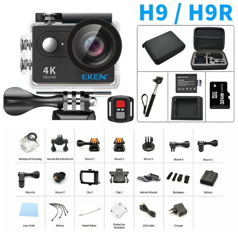 Prix pour Original h9 h9r d'action caméra 4 k yi fhd à distance ultra wifi 1080 p 60fps aller 4 k kamera pro hero sj mi 7000 cam sport caméra