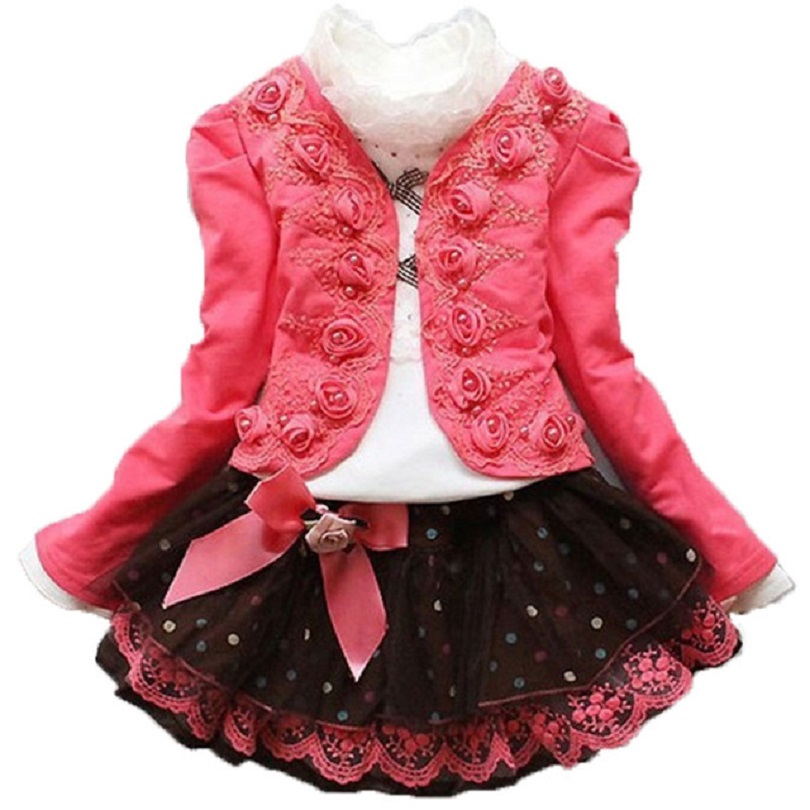 2018 Teenager Girls 3pcs Set Children Kids Flower Short Jacket Coat + Lace Blouse + Dot Bow Lace dress Baby Girl Clothing Sets contrast lace wrap blouse