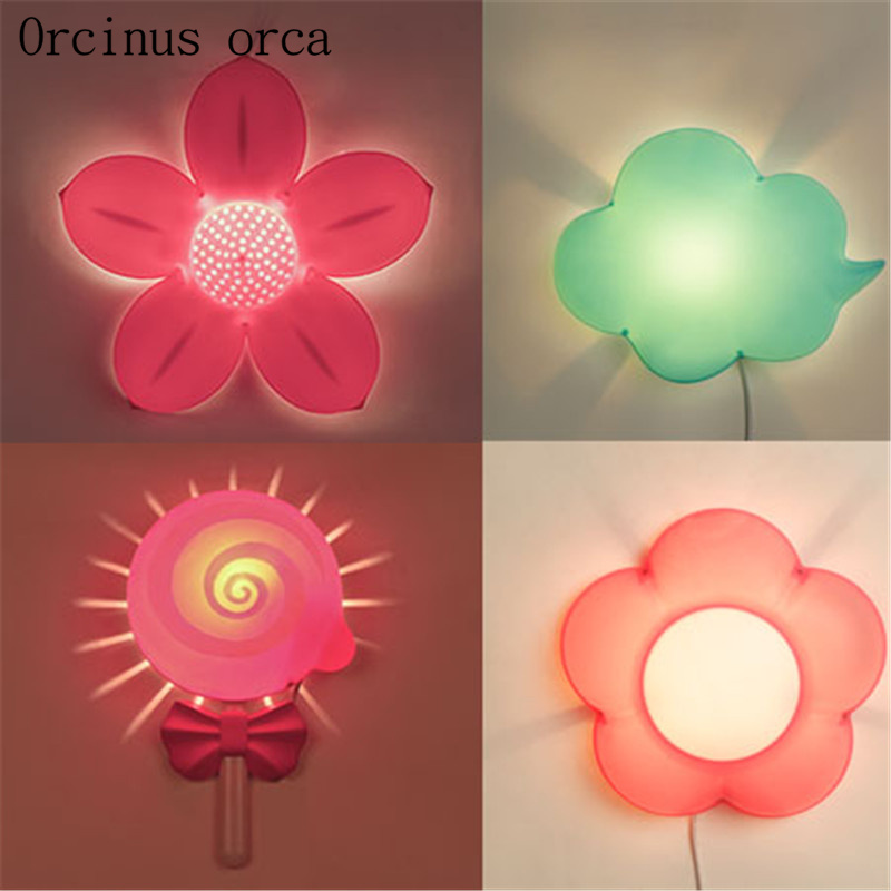 Creative cartoon flower wall lamp childrens room Boy Girl Bedroom bedside lamp adornment lovely LED night light free shipping