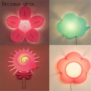 Creative cartoon flower wall lamp children's room Boy Girl Bedroom bedside lamp adornment lovely LED night light free shipping