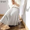 Women's Elegant High Waist Midi Skirt 2016 Ladies Vintage Elastic Waist Pleated Polyester Suede Slim Skirts Saias 8 Colors SK55
