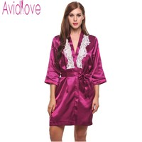 Avidlove Sexy Short Satin Bride Robe Lace Patchwork Kimono Women Wedding Sleepwear Summer Female Bathrobe Lingerie