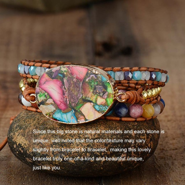 Colorful Natural Stone 3 Layer Leather Cuff Bracelet