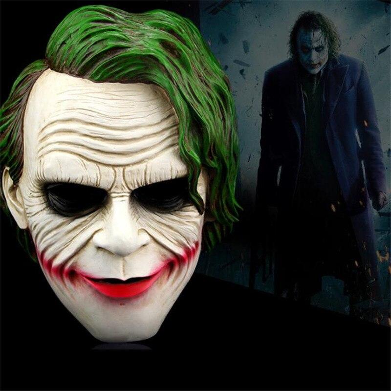 High Quality Movie Batman Joker Mask Green hair Latex Clown Costume Cosplay Halloween Adult Party Masquerade Rubber Masks