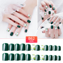 2019 Newest Fake Nail Long Square Head Candy Colors False Nails 24pcs Matte Green Color Fashion Tips