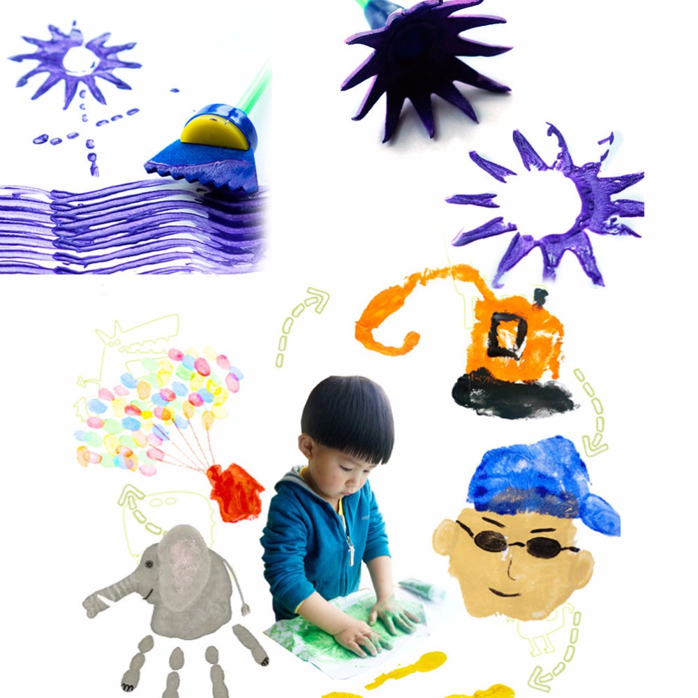 4 Pcs Brushes Seal Painting Tools Flower Graffiti Sponge Art Supplies Drawing Toys for Kid Children Funny DIY Creative Toy
