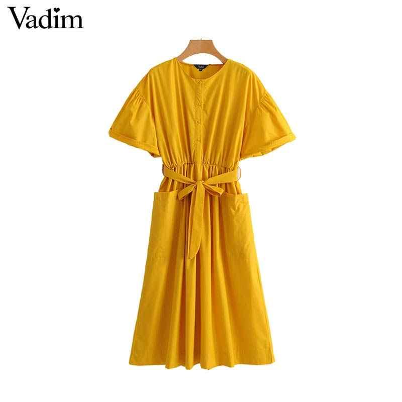 Vadim femmes élégant jaune mi-mollet robe ceintures poches taille élastique manches courtes femme plissée chic robes vestidos QZ3624