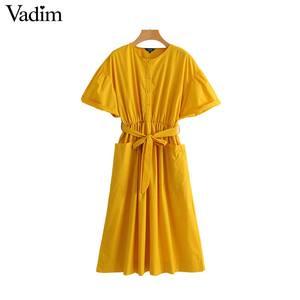 Image 4 - Vadim 女性のエレガントな黄色ミッドカーフドレスサッシポケット弾性ウエスト半袖女性プリーツシックなドレス vestidos QZ3624
