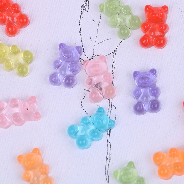 10 piezas de oso simulado caramelo polímero Slime caja de juguete para niños dijes Lizun modelado arcilla DIY Kit accesorios niños plasticina regalo