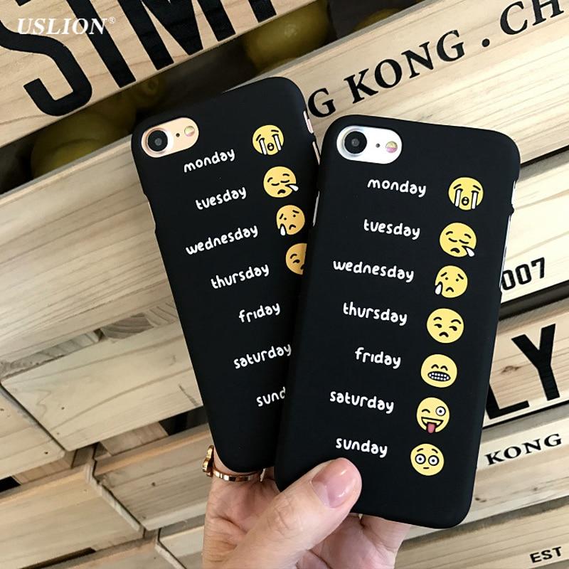 Moda lindo emoji uslion carta teléfono case para iphone 7 6 6 s plus negro ultra