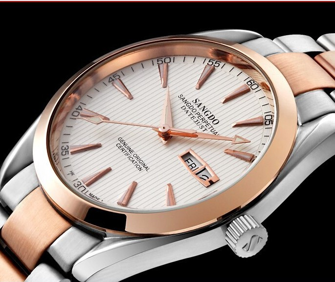40mm Sangdo Business watch Automatic Self Wind movement Stainless steel with PVD gold plating 0271d