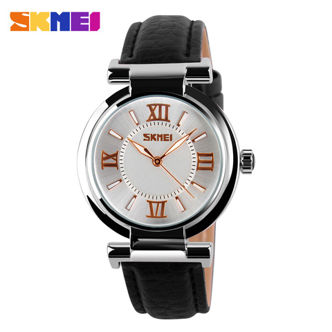 SKMEI Brand Women Fashion Luxury Dress Watches 30M Waterproof Leather Strap Quartz Watch Student Wristwatches Ladies Hours 9075 Islamabad